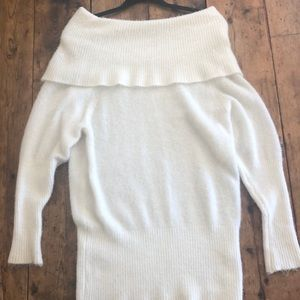 Olivaceous Over the Shoulder White Sweater
